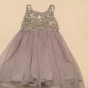 Girls tulle and sequin silver grey dress